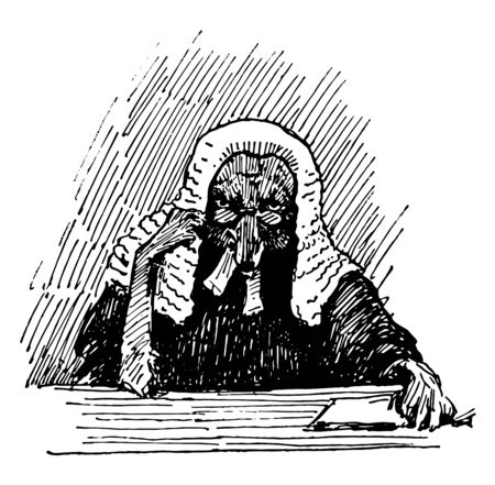 Reynard the Fox: Reynard the Judge this scene shows the fox in judge dress in the court the fox has wig on head and eyeglasses vintage line drawing or engraving illustration Ilustração