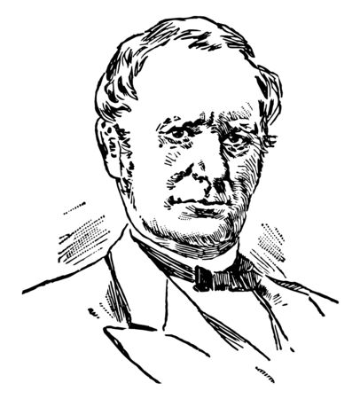 Thomas Andrews Hendricks 1819 to 1885 he was an American politician lawyer sixteenth governor of Indiana and the vice president of the United States vintage line drawing or engraving illustration Ilustrace