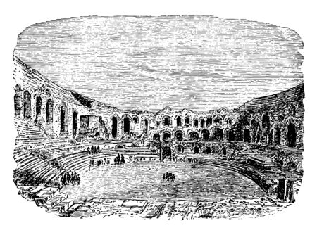 The Amphitheater of Arles The town clock of Athens the Hellenistic Age in the southern French town most prominent tourist attraction in the city vintage line drawing or engraving illustration. Ilustrace
