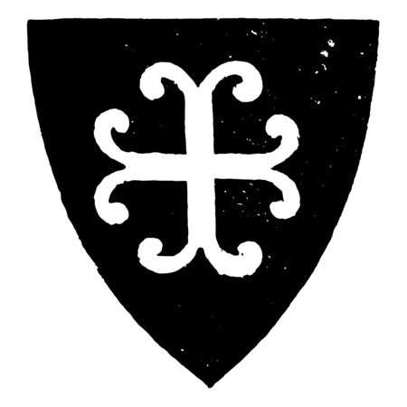 Cross Recercelée is very similar to the Cross Moline vintage line drawing or engraving illustration.