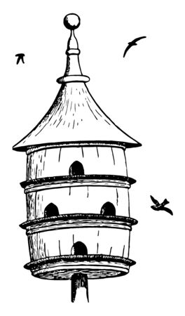 Multi Level Bird House which is commonly used for Purple Martins, vintage line drawing or engraving illustration. 向量圖像