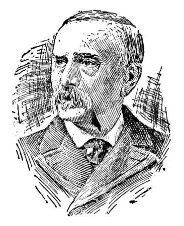 Julius Sterling Morton 1832 to 1902 he was a Nebraska newspaper editor vintage line drawing or engraving illustration Vector Illustration