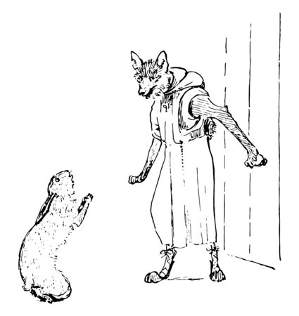 Reynard the Fox: Hunting Kyward this scene shows the hare begging in front of the fox in human dress vintage line drawing or engraving illustration