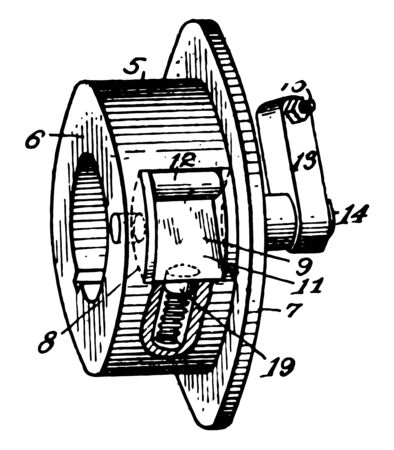 This illustration represents Roller Clutch vintage line drawing or engraving illustration.