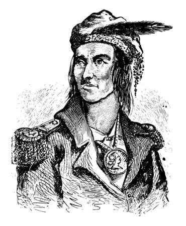 Tecumseh 1768 to 1813 he was a Native American Shawnee warrior and chief of the Shawnee vintage line drawing or engraving illustration