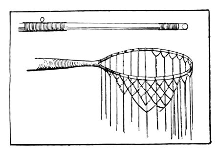 It looks like a fishing pole & net which are used to grab or catch a fishes vintage line drawing or engraving illustration.