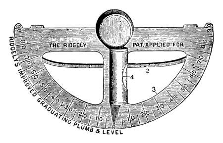 This illustration represents Graduating Plumb and Level which is used to level horizontal or vertical measurements vintage line drawing or engraving illustration. Illusztráció