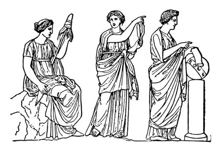 The three fates of Greek Mythology were three sisters named as Clotho Lachesis and Atropos has been distributed work to spun the thread of life decide its fate and cut the threat respectively vintage line drawing or engraving illustration.
