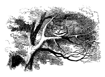 Alice in Wonderland this scene shows cat face on branches of big tree vintage line drawing or engraving illustration