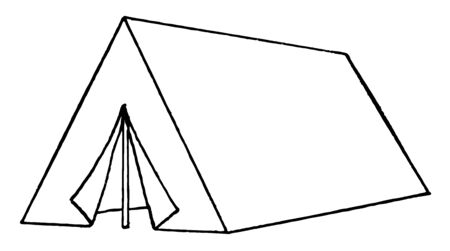 This image look like a small fitting tent & made by bamboo & cloth. It looks like triangle vintage line drawing or engraving illustration. Illusztráció