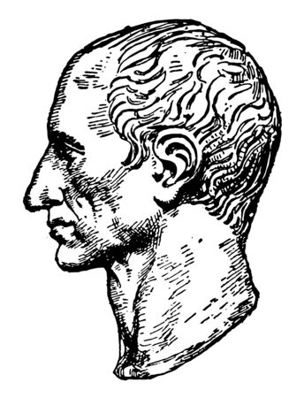 Bust of Julius Caesar 100 BC to 44 BC he was a Roman politician and general famous as author of Latin prose vintage line drawing or engraving illustration