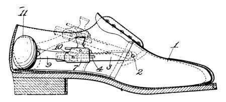 Dress Shoe is a durable covering for the human foot vintage line drawing or engraving illustration. Illustration