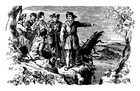 Daniel Boone with soldiers first reached Kentucky in the fall of 1767 vintage line drawing or engraving illustration