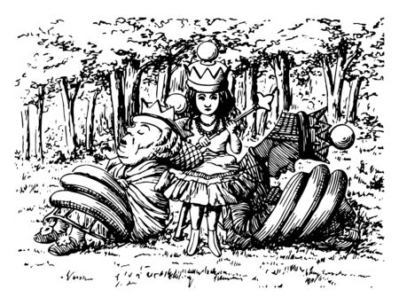 Queen Alice this scene shows little girl with crown sitting on table and two little men sitting near her and sleeping in the jungle she holding something in hand vintage line drawing or engraving illustration Vettoriali