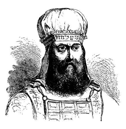 Mitra o turbante sagrado del sumo sacerdote judío línea vintage de dibujo o ilustración de grabado. Ilustración de vector