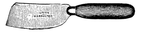 This illustration represents Paperhanger Knife which used to trim wallpaper vintage line drawing or engraving illustration. Иллюстрация