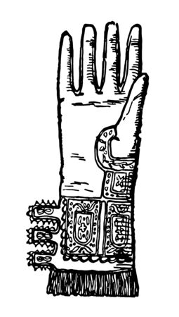Elizabethan Glove used from the Elizabethan era, vintage line drawing or engraving illustration.