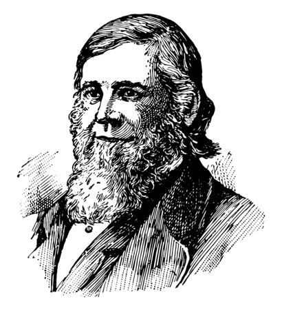 Theodore William Dwight 1822 to 1892 he was an American jurist and educator vintage line drawing or engraving illustration Ilustração