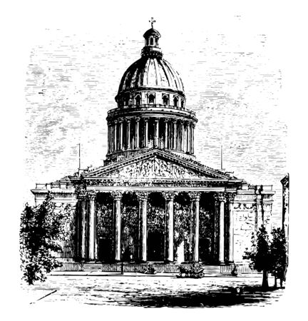 West Front of the Pantheon at Paris burial place church cyrpt France Renaissance architecture vintage line drawing or engraving illustration.