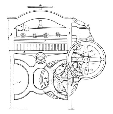 This illustration represents Paper Cutting Machines which used for cut large stacks of paper in a variety of sizes vintage line drawing or engraving illustration. Ilustrace