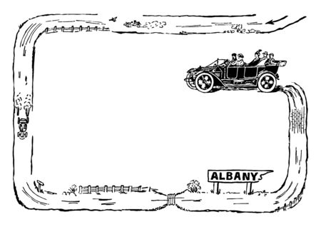 Car Border have made out of a road with cars zooming around vintage line drawing or engraving illustration. Çizim