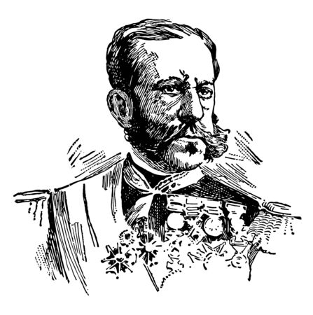 Valeriano Weyler was born at Palma de Majorca on 17 September 1838 to a Spanish mother vintage line drawing or engraving illustration.