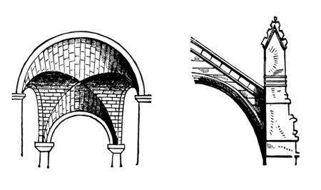 Arch are common architectural elements buttress flying groined equality vintage line drawing or engraving illustration