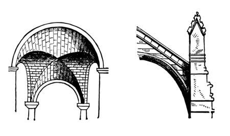 Bogen sind gemeinsame architektonische Elemente Strebepfeiler fliegende Gleichheit Vintage Strichzeichnung oder Gravur Illustration