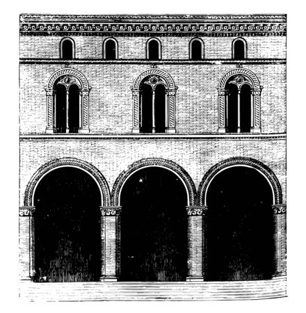 Façade of a Palace at Bologna the rarity and expensiveness of free to stone an architectural style in brick employed in the foregoing period for churches vintage line drawing or engraving illustration. Illustration