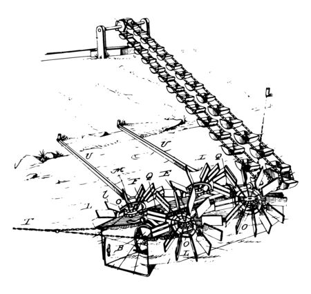 This illustration represents Device for Lifting Water which is similar to a water mill, vintage line drawing or engraving illustration. 일러스트