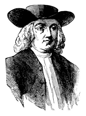 William Penn 1644 to 1718 he was an English real estate entrepreneur philosopher and founder of the province of Pennsylvania vintage line drawing or engraving illustration Vettoriali