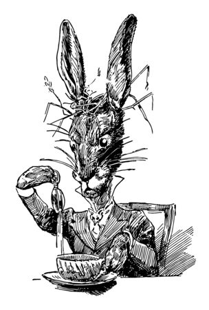 An animal wearing human dress sitting in chair and picking something from bowl kept on table, vintage line drawing or engraving illustration