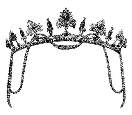 Tiara is a head to dress made with sapphires vintage line drawing or engraving illustration. Vettoriali