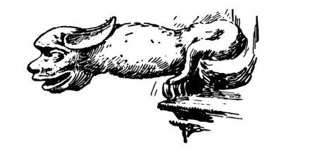 Lincoln Gargoyle sont des becs saillants des gouttières, sculptés dans sa pierre, un ajout étrange, un dessin de ligne vintage ou une illustration de gravure.