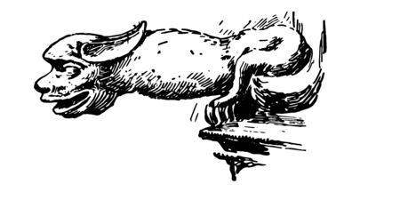 Lincoln Gargoyle are spouts projecting from the gutters, carved in its stonework, odd addition, vintage line drawing or engraving illustration.