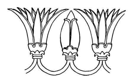 Assyrian Ornament is a Lotus motive vintage line drawing or engraving illustration. Иллюстрация