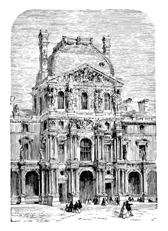 The Turgot Pavilion part of the Louvre Palace located along the Seine river in Paris built in the New Louvre section vintage line drawing or engraving illustration.
