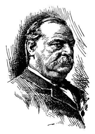 Grover Cleveland 1837 to 1908 he was an American politician and lawyer 22nd and 24th president of the United States governor of New York vintage line drawing or engraving illustration