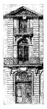 Façade at Paris in the style of Louis XV same license in the treatment displayed in secular buildings the greatest freedom the original construction intention vintage line drawing or engraving illustration.