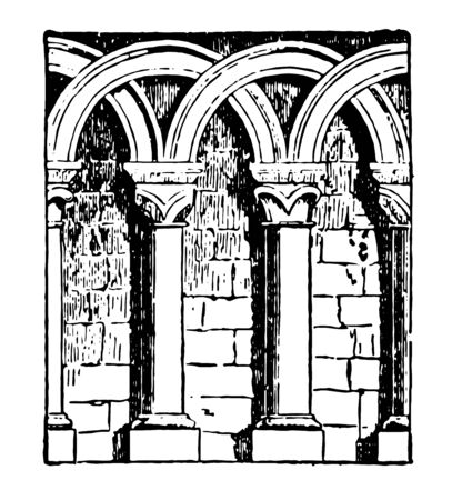 Arcature is a Interlacing arches forming itÂ's a round arches Romanesque Architecture vintage line drawing or engraving illustration. Çizim