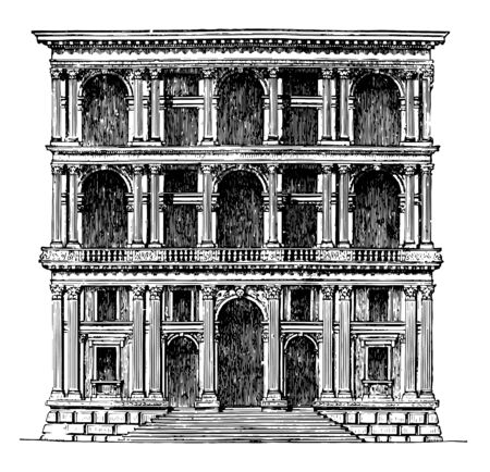 Grimani Palace at Venice A more determined imitation of Roman architecture the productions of San Michele the first half of the sixteenth century this architect had a considerable influence vintage line drawing or engraving illustration.