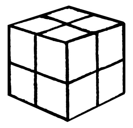 Froebels Divided Cube used to  knowledge activity, no difficult, Eight Smaller Cubes, vintage line drawing or engraving illustration. Çizim