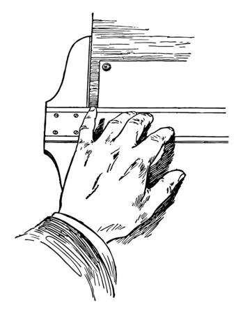 T-square Holding Position Using Fingers on Blade of the board for righted handed people, full bath or lots of closet space, mirrored closet doors and common laundry, vintage line drawing or engraving illustration.