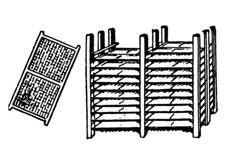This illustration shows a drying frame and drying rack used in glue manufacturing, vintage line drawing or engraving illustration.