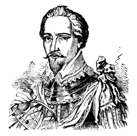 Sir Humphrey Gilbert c.1539 to 1583 he was an adventurer explorer member of parliament and a pioneer of the English colonial empire in North America and the plantations of Ireland vintage line drawing or engraving illustration