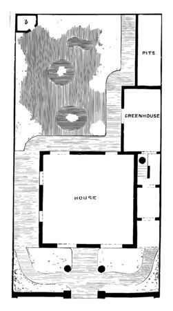 Plan of Detached Villa and Garden semi to detached residences house in one corner spacious living room House with garden vintage line drawing or engraving illustration. Иллюстрация
