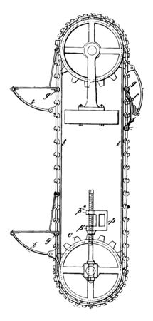 This illustration represents a belt conveyor is made up of two or more pulleys vintage line drawing or engraving illustration.