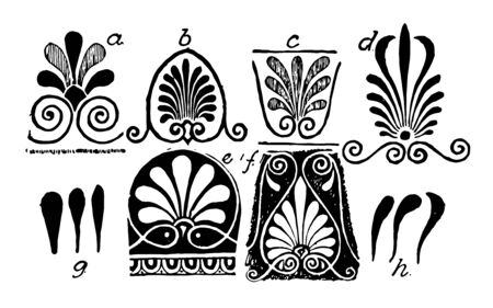 Anthemion Variations is a Eight examples of Greek anthemion designs vintage line drawing or engraving illustration. Stock Illustratie