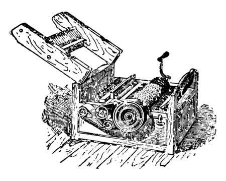 This illustration represents Whitney Cotton Gin which separated the seeds from raw cotton more rapidly than could be done by hand vintage line drawing or engraving illustration.
