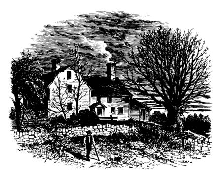 This is the house of the Israel Putnam vintage line drawing or engraving illustration. 일러스트